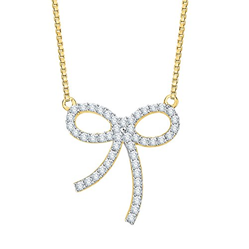 Diamond Bow Necklace - Diamond Bow Pendant Necklace in 10K Yellow Gold (1/4 cttw) (Color GH, Clarity I2-I3)