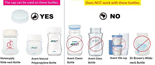 Sealing Caps Lids for Wide Neck Collection Bottle Avent Natural Polypropylene Bottles and Nenesupply Mouth Neck Bottles Storage Bottle Cap Replace Avent Natural Bottle Sealing Ring and Sealing Disc by NENESUPPLY (Image #1)