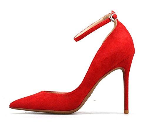 Tacón para Red alto estrecha ZPL Tacón aguja Punta de tobillo boda Sandalias corte de Correa mujer de de Zapatos la del Bombas gamuza Vestido 5pxqwXxF4