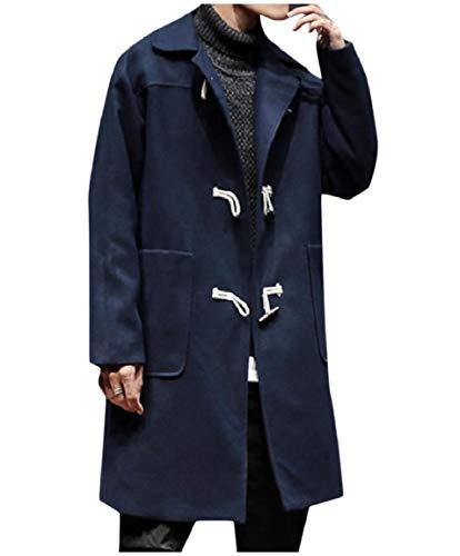 Coat Down Turn Casual Mens Wool Navy Collar Jacket Button Mogogo Relaxed blue Horns wEzq5YY