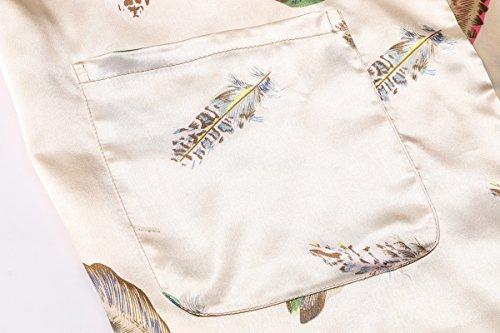 DandyChic Women's Kimono Robes Feather Print Kimono Imitation Silk Long Style by DandyChic (Image #4)