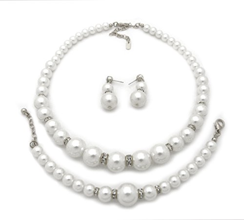 Fashion 21 Rhinestone Trimmed Simulated Pearl Necklace, Bracelet, Pierced Earring 3 Set (White)