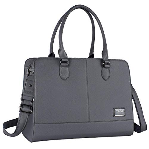 MOSISO Laptop Tote Bag for Women (Up to 15.6 Inch), Premium PU Leather Large Capacity with 3 Layer Compartments Business Work Travel Shoulder Briefcase Handbag, Space Gray