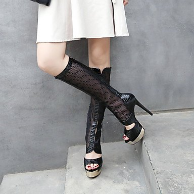 Botas de mujer Verano Otoño D'Orsay &dos piezas PU Tulle Oficina &Carrera parte &traje de nocheStiletto talón Zipper negro Black