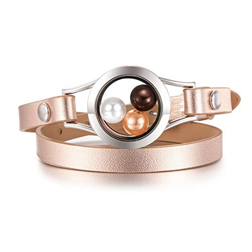 Stainless Leather Steel Bracelets Rubber (CAPTTE 316L Stainless Steel Pearl Cage Glass Locket Genuine Leather Bracelet for 8mm Pearl with Free Pearls)