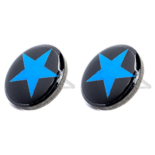 Stud Earring Swinging Sixties (Blue Star) Made With Resin by JOE COOL (Resin Star Earrings)