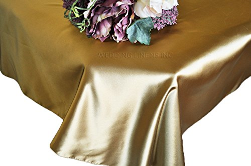 Wedding Linens Inc. 90'' x 132'' Rectangular Seamless satin tablecloths Table Cover Linens for Restaurant Kitchen Dining Wedding Party Banquet Events - Antique Gold by Wedding Linens Inc.
