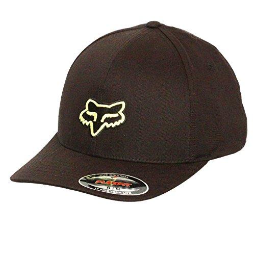 Fox Men's Flex Fit Legacy Logo Hat, Black/Yellow, Small/Medium