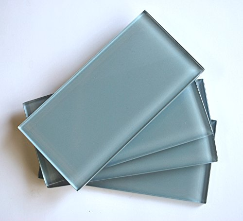 3x6 Light Blue Shiny Subway Glass Tile Wall Backsplash (SOLD BY THE PIECE) by Squarefeet Depot (Image #1)