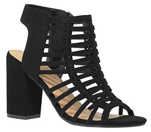 Bootie Leather Toe Open - MVE Shoes Women's Peep Toe Open Ankle Sandal - Fashion Faux Leather Chunky Heel - Strappy Side Zipper, Black nbpu Size 7