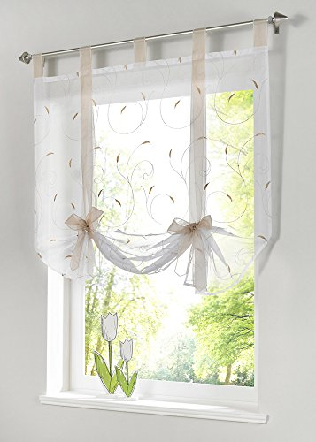 Uphome 1pc Adorable Bowknot Embroidered Floral Tie-Up Roman Curtain – Tab Top Sheer Kitchen Balloon Window Curtain (24″W x 55″H, Sand)