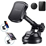 Car Phone Mount,Universal 360° Car Magnetic Windshield Phone Mount Dashboard Cell Phone Holder W/2pcs Metal Plates,Suction Cup Phone Holder for iPhone 7 Plus,8 Plus,X,7,6S,Samsung Galaxy Note S7 More