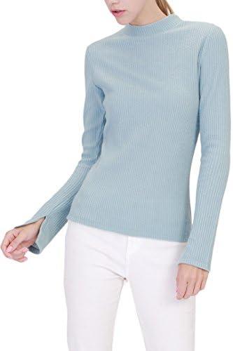 [Patrocinado] TL elástico de la mujer Solid Basic Manga Larga Mock cuello alto suéter parte superior