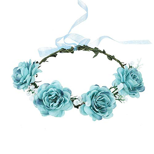 Wedding Rose Flower Crown Hair Band Party Wreath Garlands Headband for Women (Colors - Blue)
