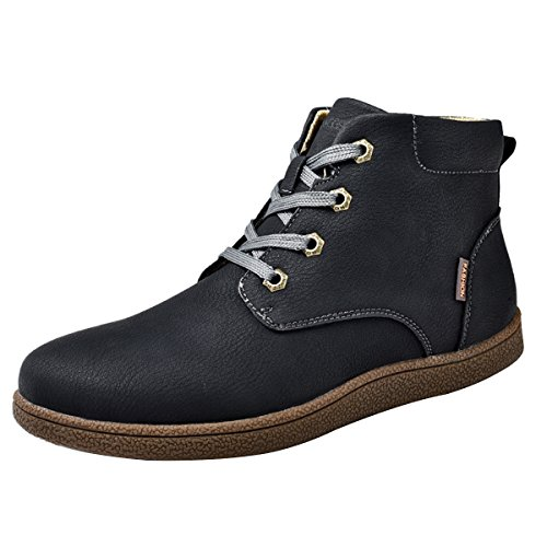 gracosy Martin Boots for Men, Men's Fashion Leather Lace up Boots Winter Cotton Lining Shoes Waterproof Boots Black Tag 43…