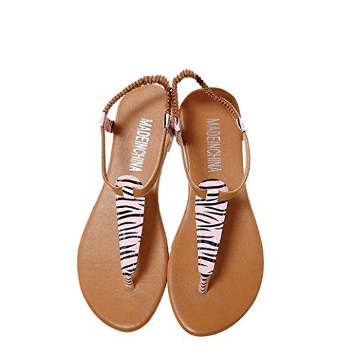 Calzado de mujer, Amlaiworld Verano plana Flip Flops Sandalias Bohemia Zapatos Rosa