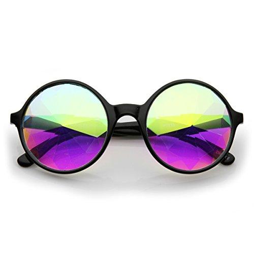 zeroUV - Emerald Light Effects Geometric Prism Kaleidescope Glasses (Black - Kaleidoscope Glasses Prism