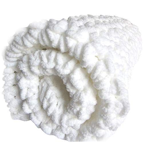 (Lightweight White Chunky Chenille Blanket Hand Knit Super Soft Chenille Yarn Throw Blanket Huge Chunky Knit BlanketBed Sofa Couch Décor Throw 40