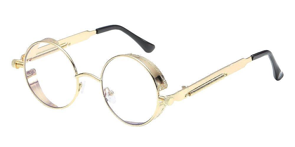 BOZEVON Punk Runde Sonnenbrille - Klassische Metall Radfahren Retro Sonnenbrille für Damen & Herren