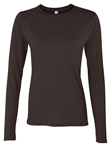 Gildan Women's SoftStyle Long Sleeve Fitted T-Shirt - DARK CHOCOLATE - XX-Large