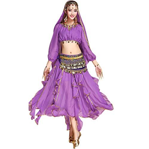 TianBin Soie Unie Femme de Maxi pour Danse Mousseline Couleur du Violet Longue Ventre de 7 Ensemble de Jupes Jupe rrR0xA