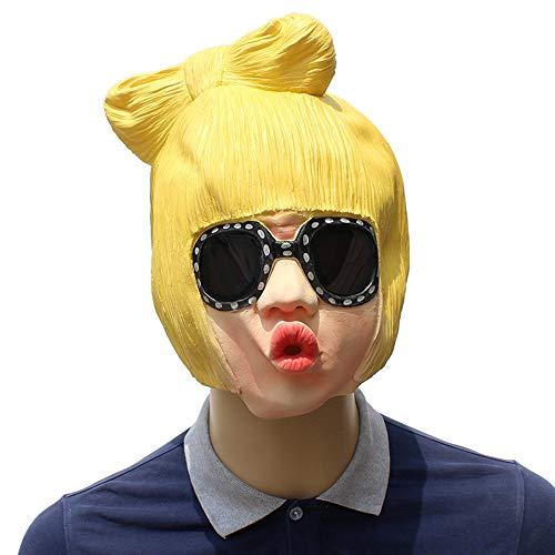 Gold Hair Sunglasses Cool Girl Latex Head Mask Lady Gaga Costume Cosplay Props -