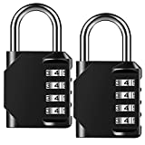 Combination Lock Outdoor Resettable 4 Digit Padlock, AIHYTU 2 Pack Heavy Duty and Weatherproof Combo Lock Combination Padlock Set for School, Gym Sports Locker, Garage, Tool Box, Garden Gate, Storage