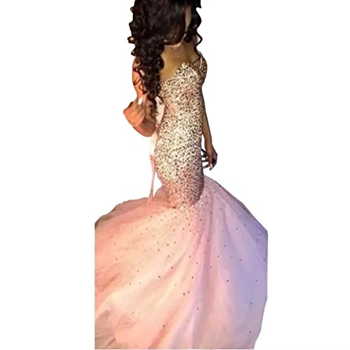 Evening 2018 Tulle Formal Pink Beaded Long Sequin Pink Mermaid Dresses Dress Prom Dimei Sweetheart Prom B7wxw0