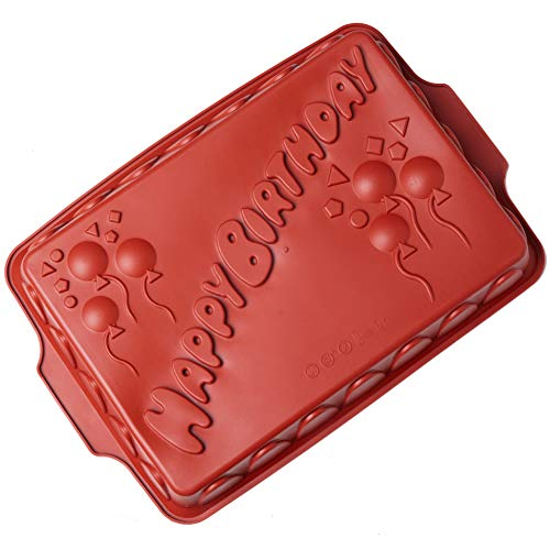Silicone Happy Birthday Cake Pan, Baking Mold Non-stick Silicone Baking Pan Bread Bundt Pan Homemade Cake Decorating Tools
