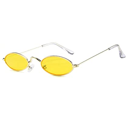 1ed78113b AOLVO Small Oval Sunglasses, Mini Vintage Stylish Round Eyeglasses HD for  Men Women Girls Gold Frame Yellow Lens: Amazon.co.uk: Kitchen & Home