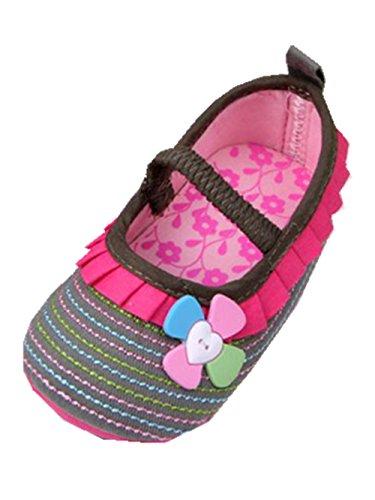 YICHUN bebé niñas vestido zapatos Prewalker zapatos flor antideslizante zapatos de cuna suave zapatos azul azul oscuro Talla:Inner Length:12cm Dark Khaki