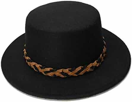 HYF Women s Black Wool Wide Brim Bowler Trilby Fedora Hat Plain Flat Lady  Felt Hats Vintage ee65ef4de805