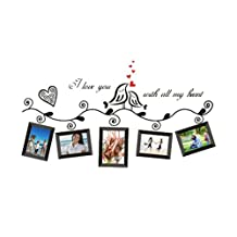 SODIAL(R)Love Birds Photo Frame Art Wall Stickers Decal Romantic Wedding Room Decor Wall Art Stickers Decal for Dining Home Decor Boys and Girls Children Courtyard Baby Room