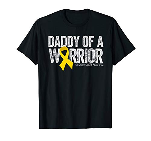 Mens Daddy of a Warrior Childhood Cancer Shirt Dad Ribbon