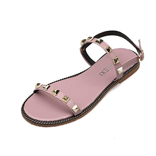 Remache Blanda Fiesta para Sandalias y 2018 Vestir Tira Rosa Suela Romano Verano Toe de Hebilla Open Zapatos con Sandalias Mujer de Playa Zapatos Tobillo del PAOLIAN Plano zPqwPxRd