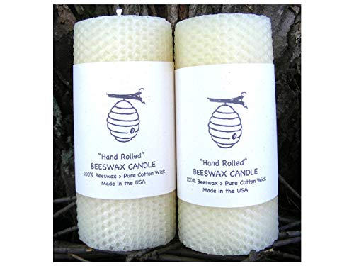 (Edinboro Creations 100% Beeswax Pillar Candles - Set of Two - 5.5