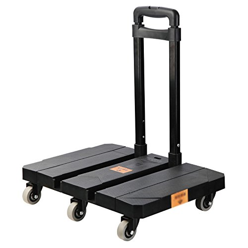 Sack Truck Compact - Hand Trucks NAN Liang 6-Wheel Caster Folding cart Portable-fold cart Color [Classic Black]