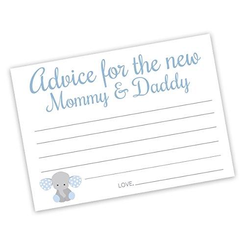 20 - Baby Shower Advice Cards, Elephant Advice Cards for the Parents To Be, Baby Boy Shower Advice Cards (Advice9)