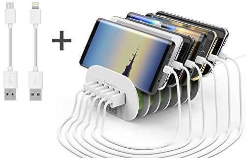USB Charging Station 6-Port USB Desktop Charging Stand Organizer for Smartphones & Other Gadgets - Multiple USB Charger Station & Cell Phone Docking Station - Includes 2 Cables by LDNIO