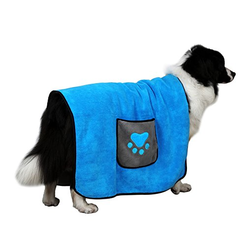 DADYPET Pet Dog Blanket, Dog Towel, 4 in 1 Pet Bed Cover, Medium Dog Blanket, Double Sided, Super Absorbent Two Sided Pockets and Machine Washable, for Small, Medium, Large Dogs and Cats, 40'' 28''