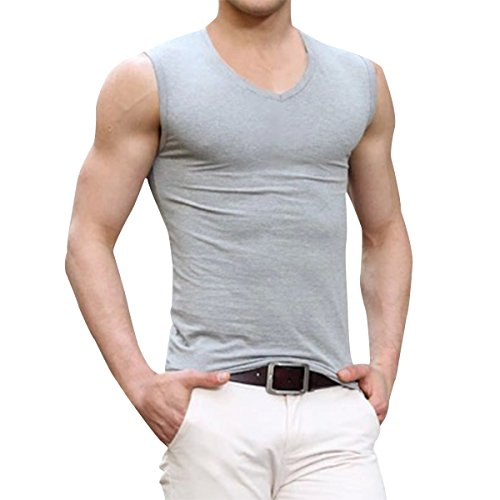 V-neck Muscle Tee (Pishon Men's Sleeveless Tee Shirts Casual V-neck/Crew Neck Fitted Muscle T-Shirt, Grey V Neck, Tag Size 2XL=US Size M)