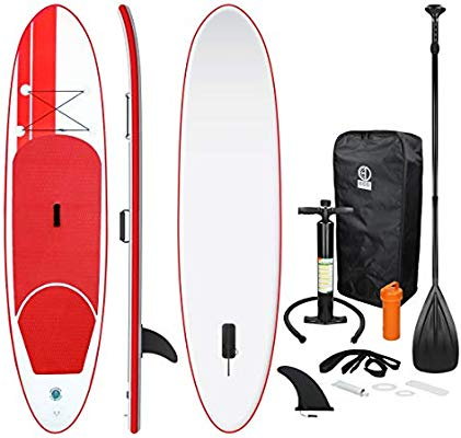 ECD Germany Tabla Hinchable Paddle Surf/SUP - Stand up paddle board - 308 x 76 x 10 cm - rojo - PVC - varios modelos - Incluye Bomba, Mochila, Aleta ...