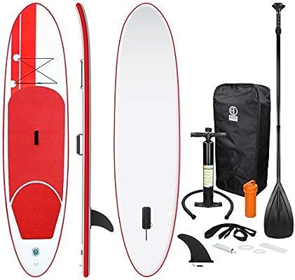 ECD Germany Tabla Hinchable Paddle Surf/SUP - Stand up paddle board - 308 x 76 x 10 cm - rojo - PVC - varios modelos - Incluye Bomba, Mochila, Aleta ...