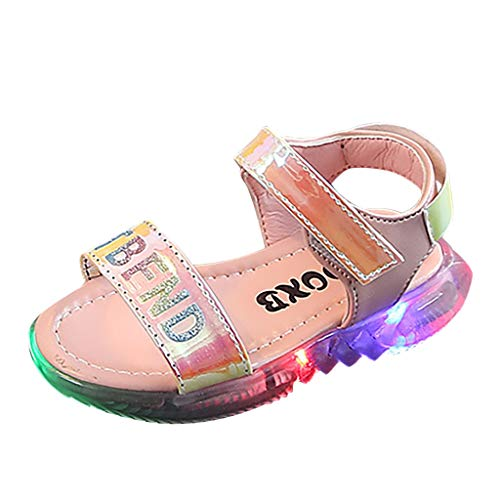 Alimao Artificial Leather Lightweight Non-Slip Multicolored LED Illuminated Sneakers Fingerless Sandals,Boy and Girl's Glow up Walkinging Sneaker