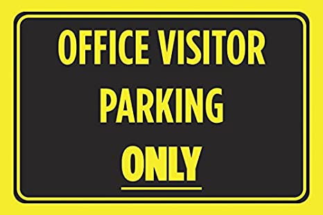 6 Pack Office Visitor Parking Only Print Black Yellow Notice Poster Business School Car Lot Outdoor Sign Large 12x18