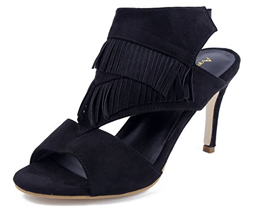 AgeeMi Shoes Womens Open Peep Toe Spikes Stilettos Fringed Suede Sandals Bbup5uGCsg