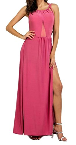 Long Pleated Straps Womens Dress Pink Backless Cruiize Cross Spaghetti Split 5BqZ05nxH