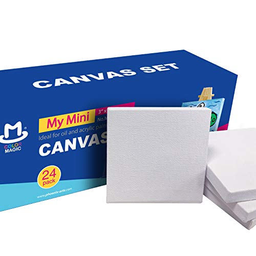 COLOR MAGIC Mini Stretched Canvas 3x3 Inch/24 Pack - Square Canvas for Kids, Ideal for Painting & - Stretched Canvas Iii