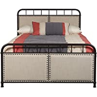 Pulaski Queen Upholstered Panel All-in-One Metal Bed, White