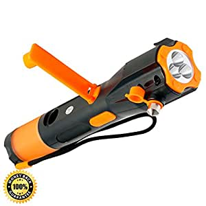 Cynergy Lifelight All-in-One Waterproof Emergency Crank Flashlight complete with Wind Up Rechargeable LED lights, Window Breaker, Seatbelt Cutter, Compass, USB Cell Phone Charger, and Red Light Flasher